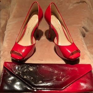 Jessica Simpson Red Patent Leather Pumps + Clutch
